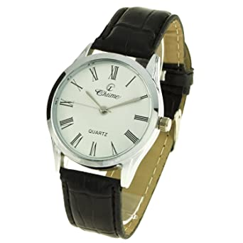 0ade89a963fa6 montre-concept - Silver Men's Analogue Watch Black Leather Strap Round Dial  White Background mvs-1-0097: Amazon.co.uk: Watches
