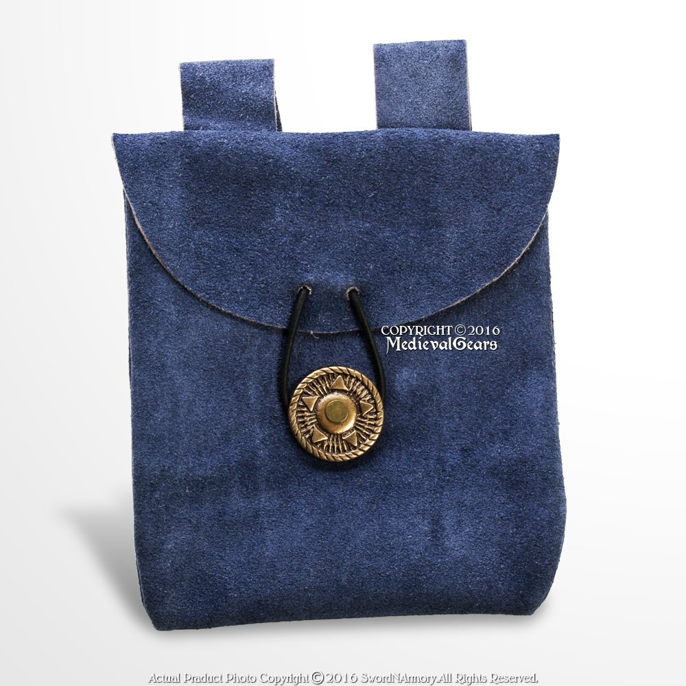 Small Medieval Dark Blue Suede Leather Belt Pouch