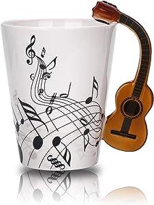Guitar Music Unique Handle Art Musical Notes Holds Tea Coffee Milk Ceramic Mug Cup 12 Oz Best,Black