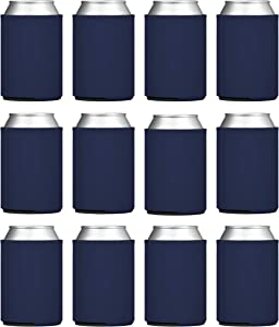 TahoeBay Blank Beer Can Coolers, Plain Bulk Collapsible Foam Soda Cover Coolies, Personalized Sublimation Sleeves for Weddings, Bachelorette Parties, HTV Projects (Navy Blue)