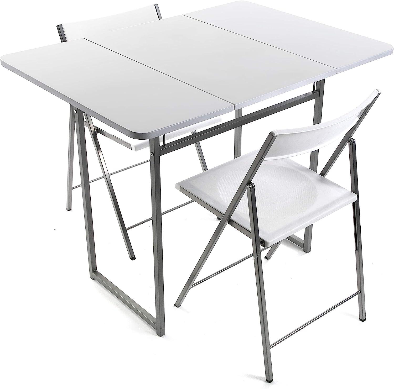 Versa 19840050 Mesa Plegable con Dos sillas Brenna con Respaldo para Cocina, Comedor, balcón o terraza en Color Blanco de Metal, PVC y Madera, 100 x 70 x 80 cm