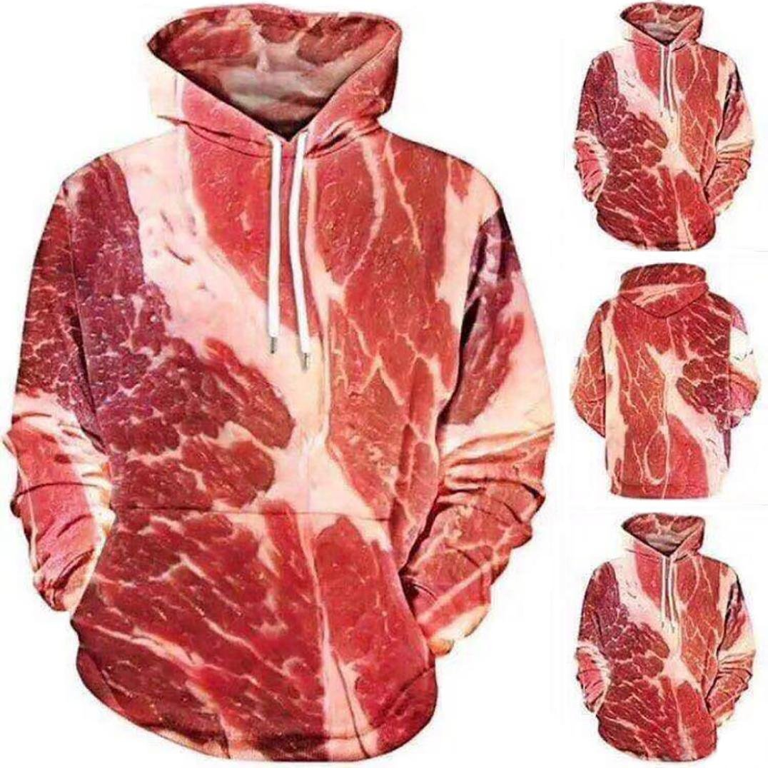 Corsion 3D Printed Raw Meat Hoodie Unisex Pullover Sweatshirt Top Blouses Plus Size
