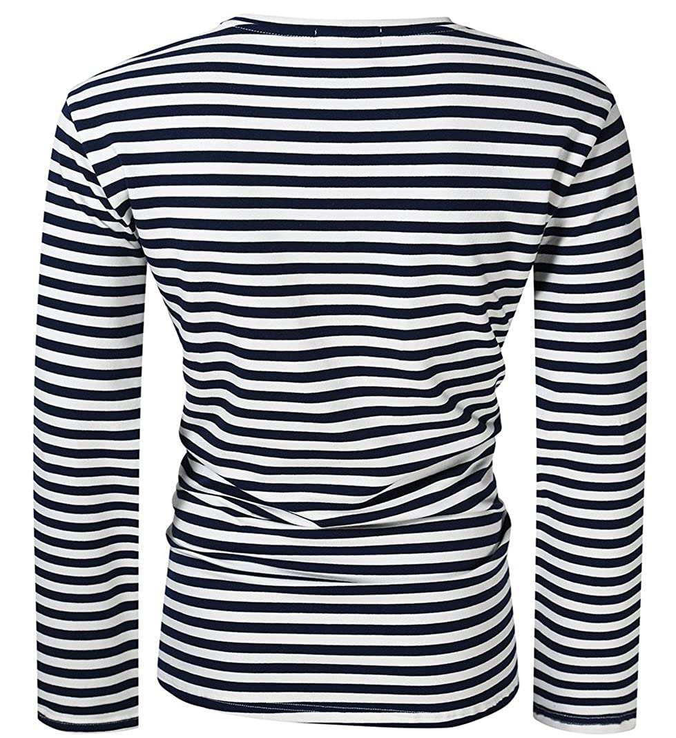 9bcff709f1 Yong Horse Men Casual T-Shirts Classic Fit 1 Chest Pocket Striped Crew Neck  Long Sleeve T Shirts XL - 5XL (Blue and White, 4XL): Amazon.in: Clothing &  ...