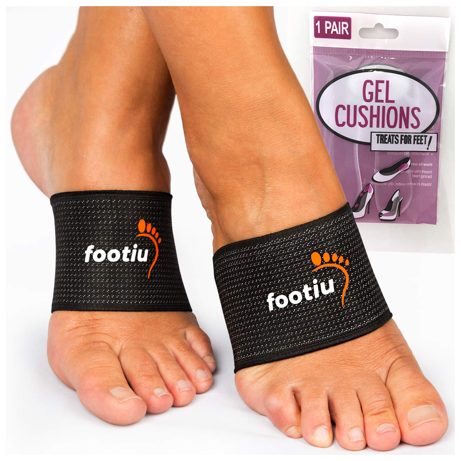 FOOTIU Bundle - Compression Copper Arch Support Brace - 2 Plantar Fasciitis Sleeves for Pain Relief, Heel Spurs and Flat Feet with Silicone Gel Packs