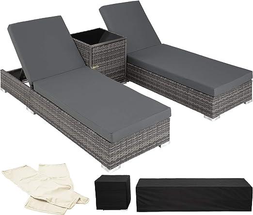 TecTake 800153 2X Tumbona Chaise Longue de Aluminio Poli Ratán + Mesa de Jardín + 2 Set de Fundas Intercambiables + Funda Completa (Gris | No. 403088): Amazon.es: Jardín