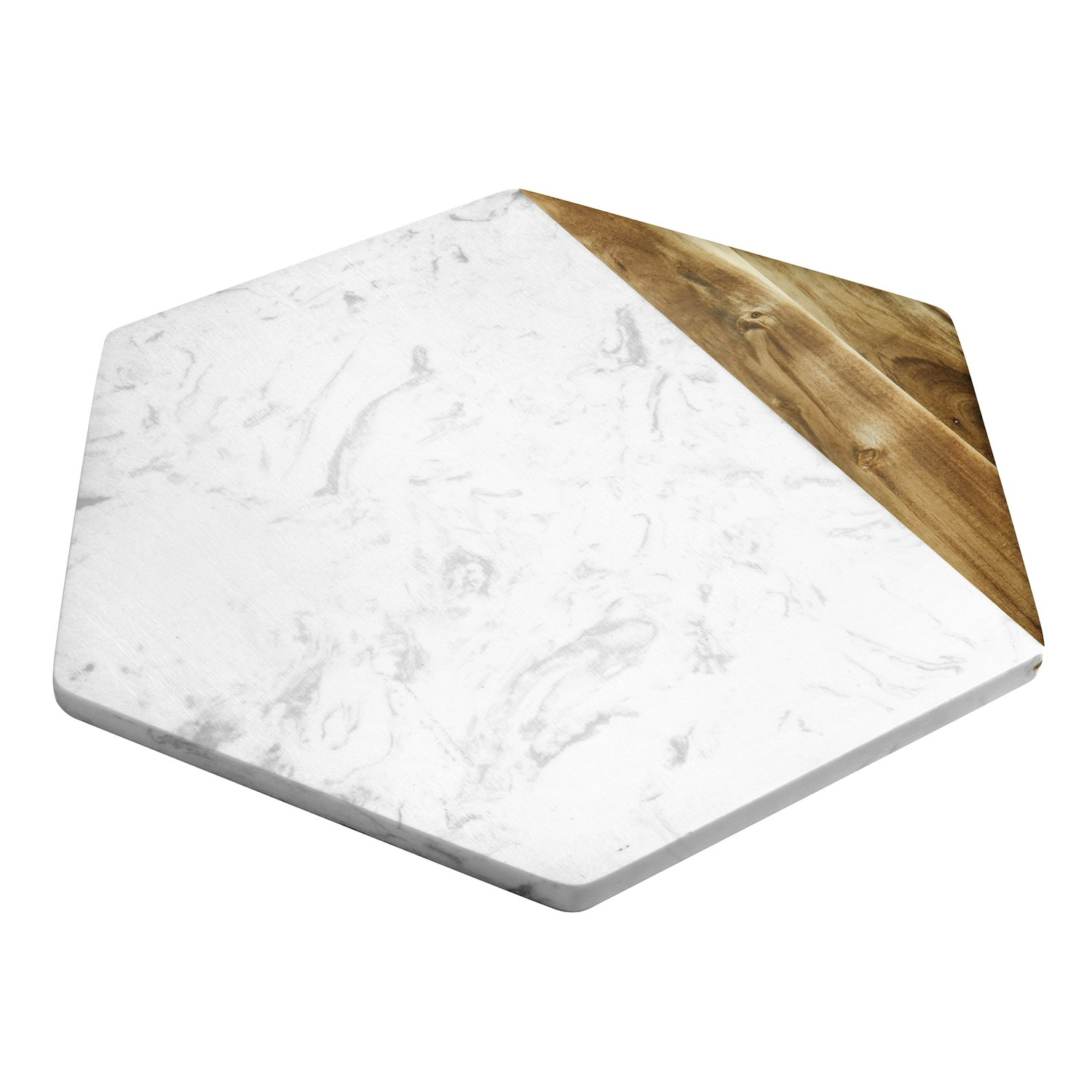 TOPHOME Cheese Board Versatile Rectangle Marble and Acacia Wood Pastry Board Appetizer Serving Board BeefSteak Server Bread Plate Pizza Trays Christmas Wedding Party TH-Clangel-NM