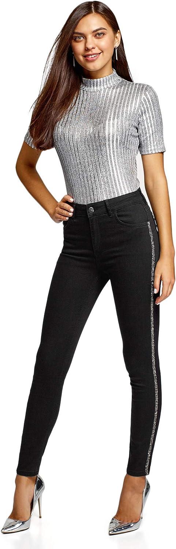 oodji Ultra Donna Jeans Skinny con Strisce Laterali