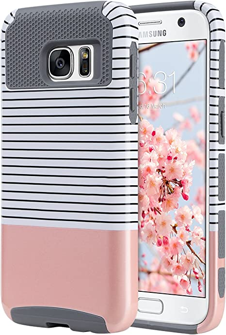 Amazon Com Ulak S7 Case Galaxy S7 Case Hybrid Case For Samsung Galaxy S7 2016 Release 2 Piece Dual Layer Style Hard Cover Minimal Rose Gold Stripes Grey Will Not Fit S7 Edge