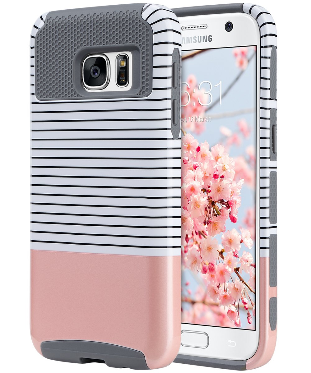 b1720c7653 ULAK S7 Case, Galaxy S7 Case, Hybrid Case for Samsung Galaxy S7 2016  Release 2-Piece Dual Layer Style Hard Cover (Minimal Rose Gold  Stripes+Grey) Will not ...
