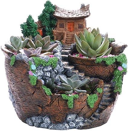 BW#A Resin Succulent Plants Planter Flowerpot Desktop Potted Holder Home Decor