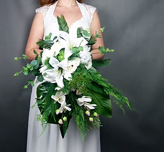 Amazoncom White Cascading Wedding Bouquet Lily Orchid Tropical