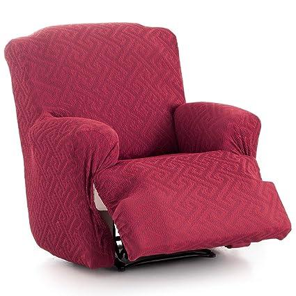 Innovaciones Roser Funda de Sillón Relax Completo Elástica Modelo Rosario, Color Rojo, Medida 60-90cm de Respaldo