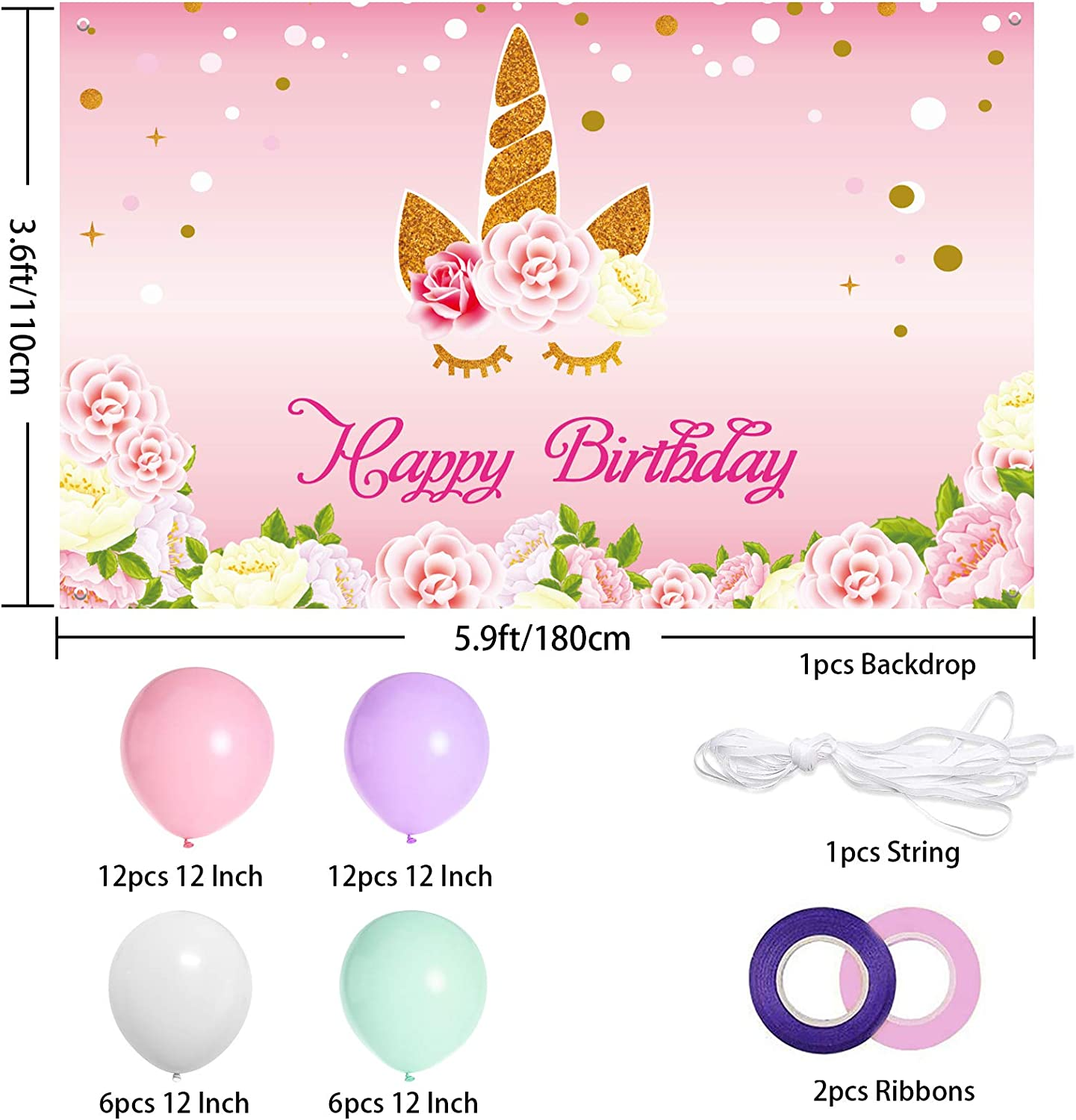 Pink Floral Fabric Unicorn Backdrop Birthday Banner and Balloons Kit for Baby Shower Unicorn Party Photography Studio Background Supplies Unicorn Party Decorations Set