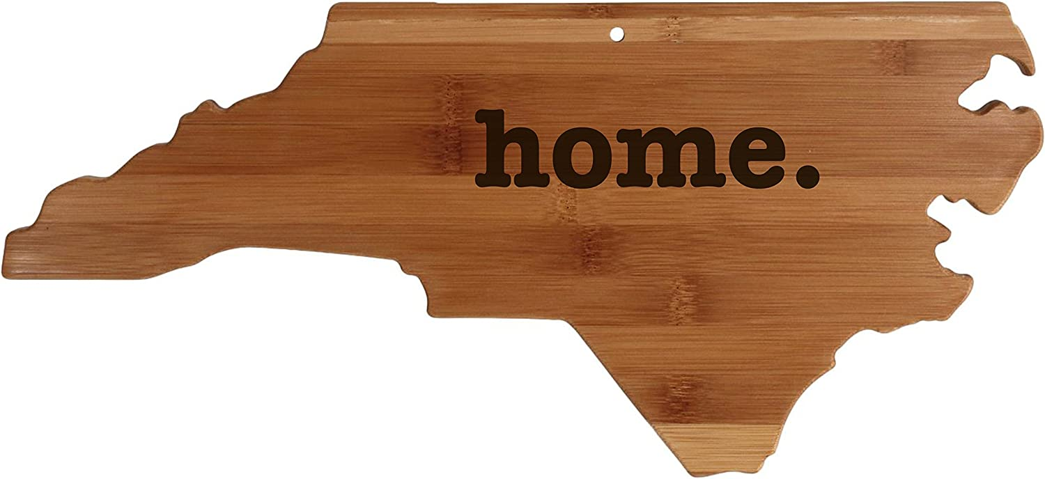 North Carolina State Shaped Bamboo Wood Cutting Board Engraved home. Personalized For New Family Home Housewarming Wedding Moving Gift