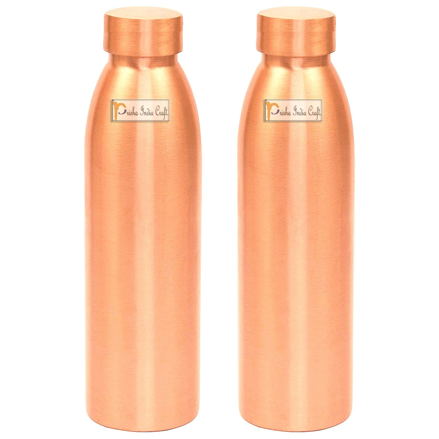 Prisha India Craft Seam Less Pure Copper Water Bottle New Style Storage Water, Travel Essential, Yoga, Copper Bottles | Capacity 1000 ML | Set of 2