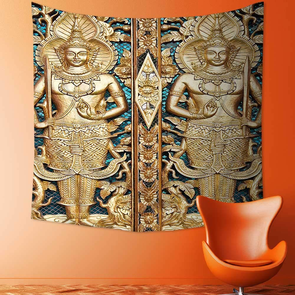 Printsonne Wall Decor Tapestries Collection Thai Gate at Wat Sirisa Tong Thailand Buddhism Architecture History Spiritual Picture Tapestry Coverlet Curtain by Printsonne