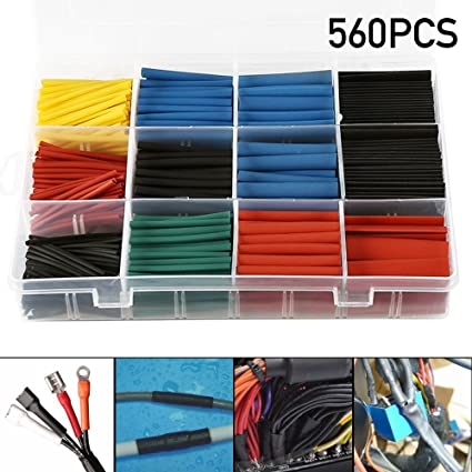 560pcs 2 1 Heat Shrink Tube Tubing Sleeve Wrap Wire Assortment Black /& Red
