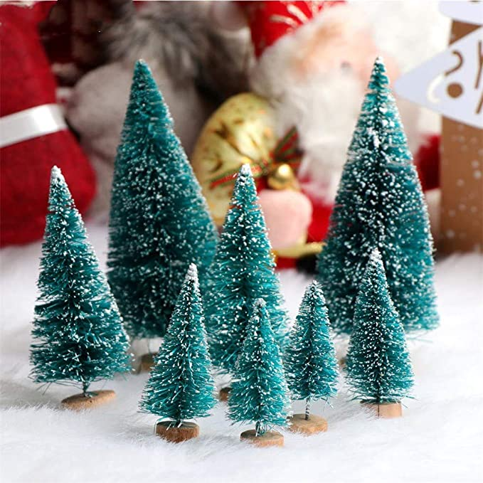 12pcs mini árbol de navidad con Base de madera, Adornos copa del árbol de navidad Árbol Pino de Escarcha de Nieve Artificial para decoración de Habitaciones ...