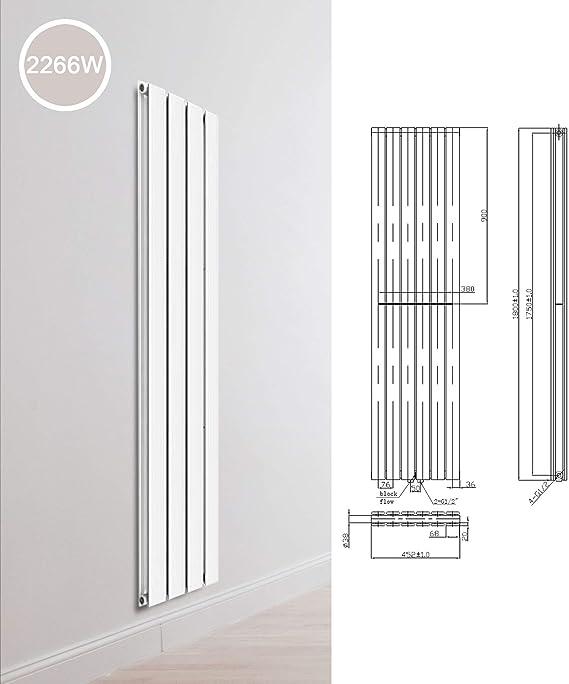 Radiador de diseño con una capa de dos capas, radiador plano, radiador de baño, acabado: doble capa, dimensiones: 1800 x 452 x 78 mm: Amazon.es: Bricolaje y herramientas