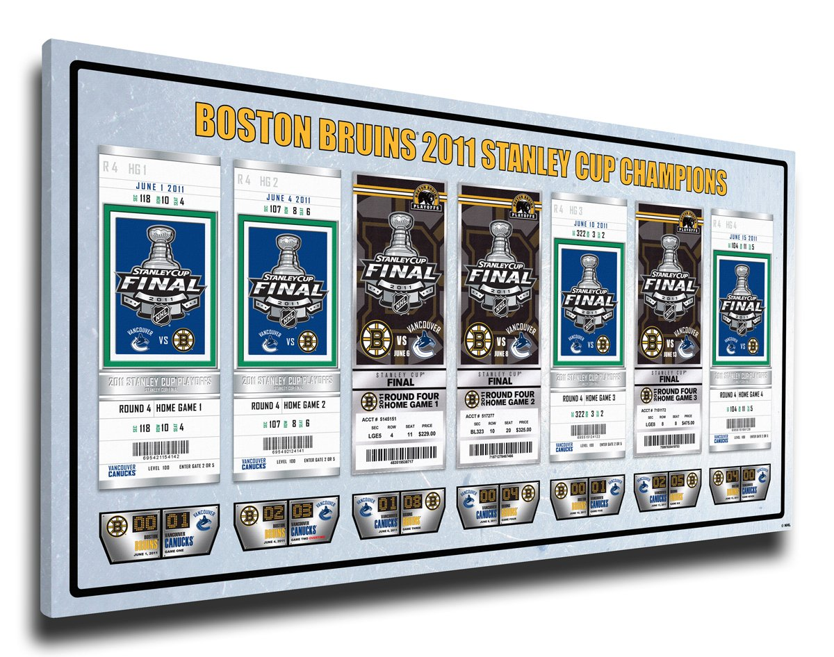 2011 NHL Stanley Cup Final Commemorative Tickets To History Canvas Print - Boston Bruins That' s My Ticket