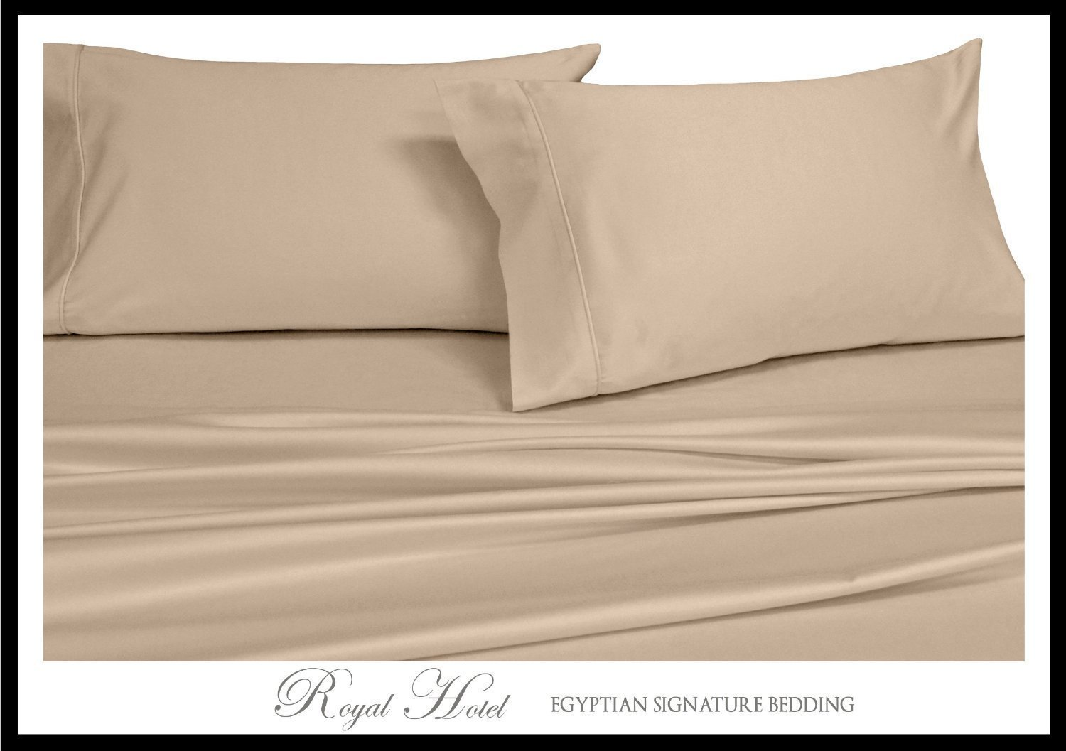Royal's Solid Beige / Linen 1000 Thread Count 5pc Split-King: Adjustable King Size Bed Sheet Set 100% Cotton, Sateen Solid, Deep Pocket by Royal Hotel