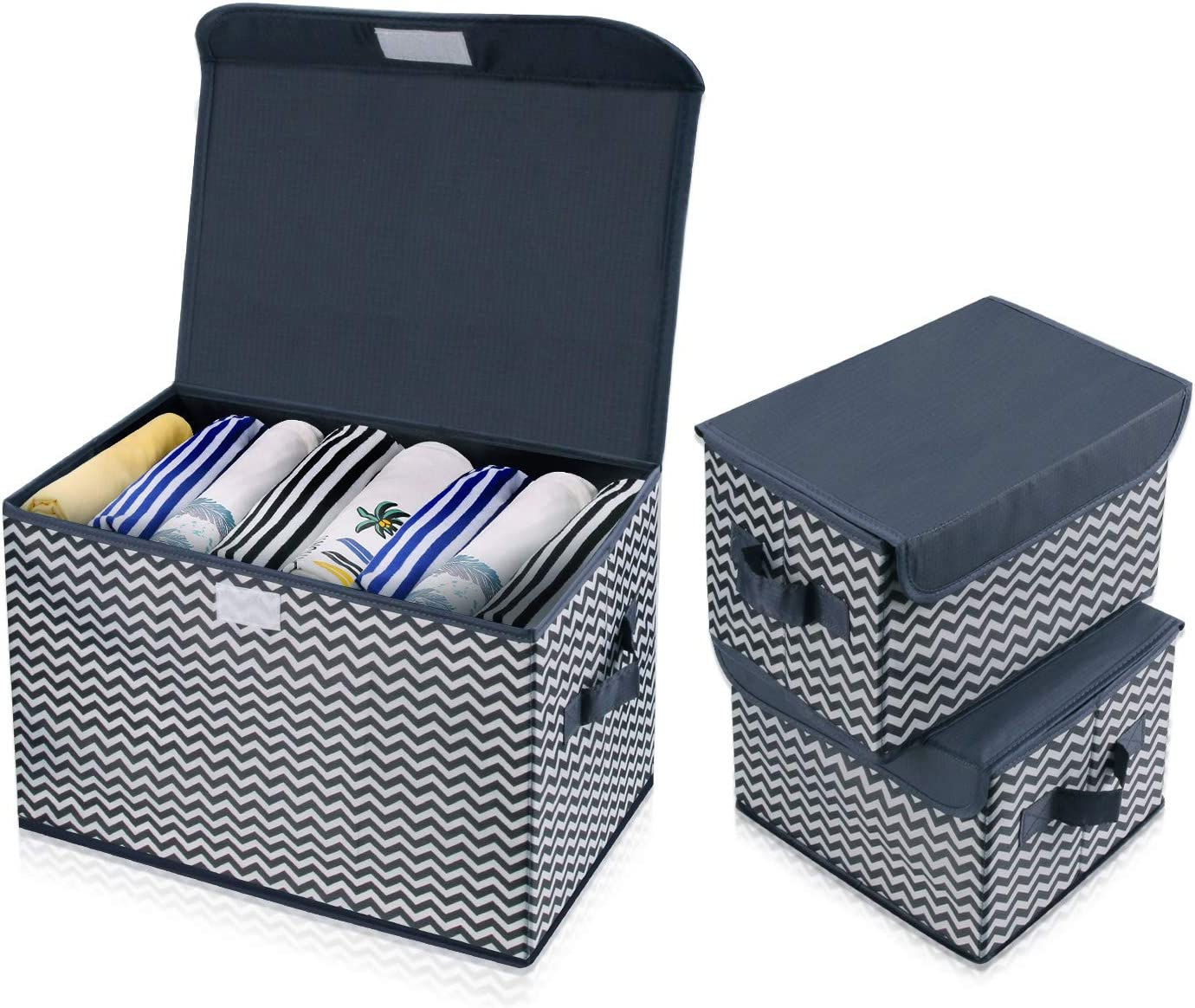 Closet Books Beige Bedroom DIMJ 3 Pack Foldable Storage Boxes with Lids Fabric Storage Organiser Box with Handle Large Storage Bins for Toys Home