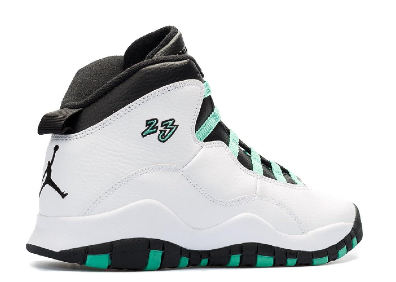 Nike Boys Air Jordan 10 Retro GG White//Verde-Black-Infrared 23 Leather Basketball Shoes