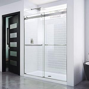 DreamLine Essence 44-48 in. W x 76 in. H Frameless Bypass Shower Door in Brushed Nickel, SHDR-6348760-04