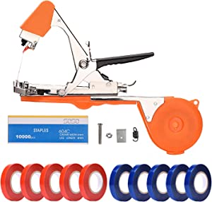 FUNTECK Plant Tying Machine Tapener Tool for Grapes, Raspberries, Tomatoes and Vining Vegetables, Comes with Tapes, Staples and Two Replacement Blades