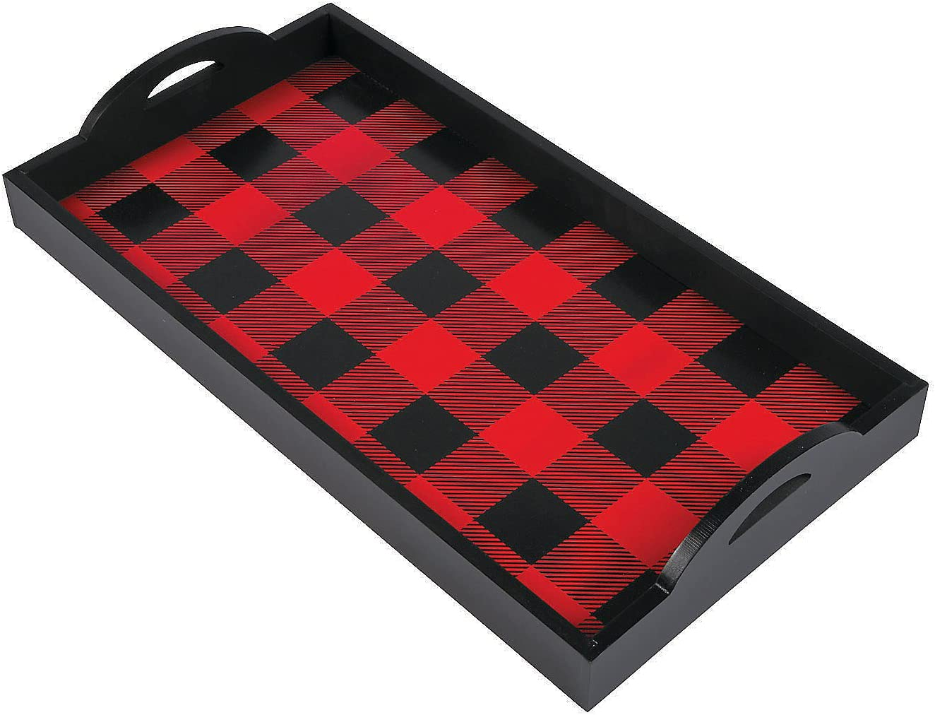 Fun Express Wooden Buffalo Plaid Serving Tray - Home Decor - 1 Piece