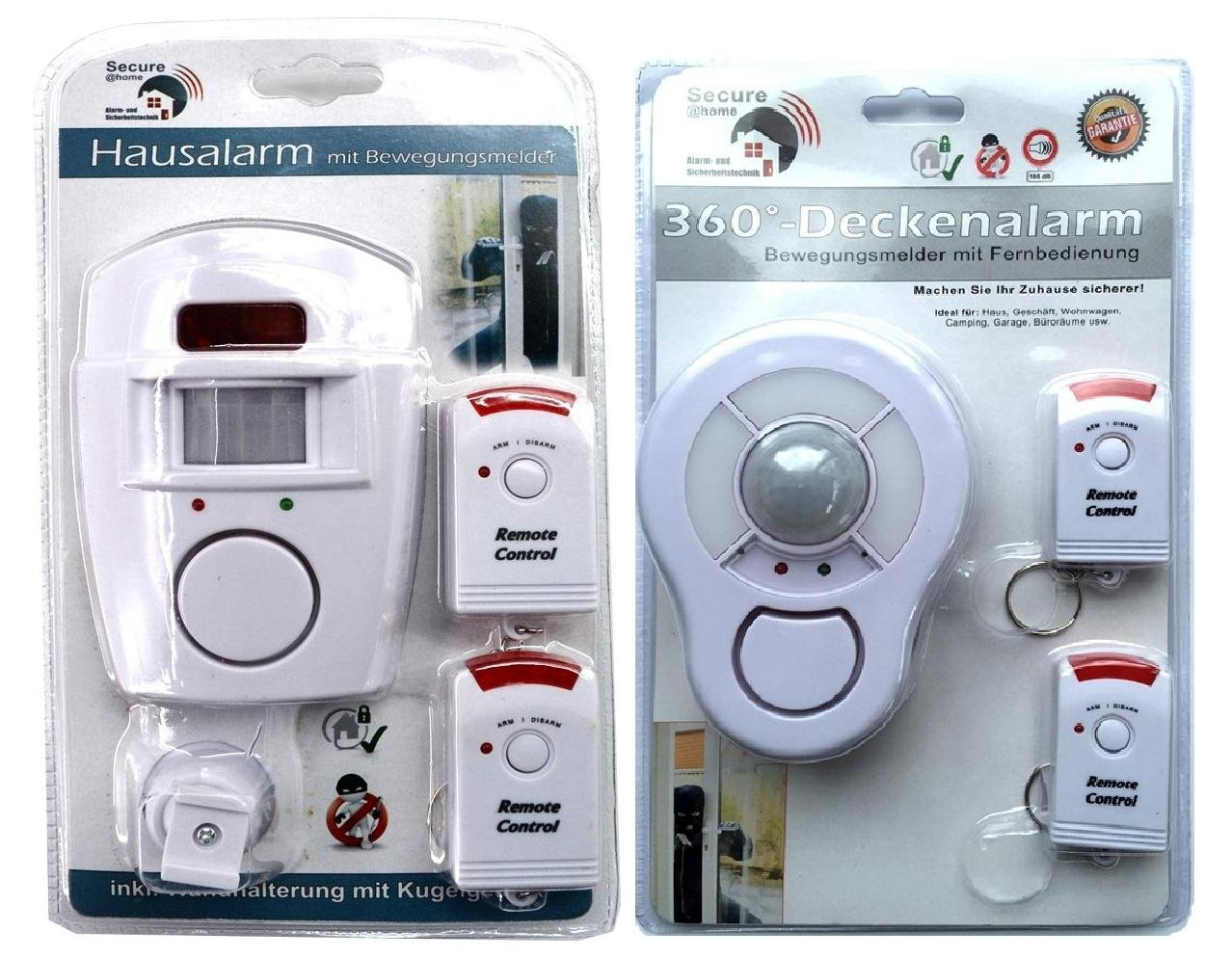 Set Hausalarm & Deckenalarm mit PIR- Bewegungsmelder mit Fernbedienung | Alarm