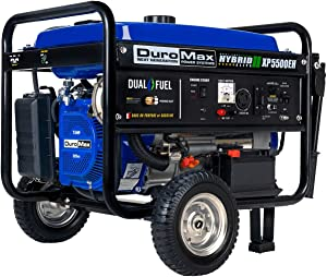 DuroMax XP5500EH Dual Fuel Portable Generator – 5500 Watt Gas or Propane Powered-Electric Start