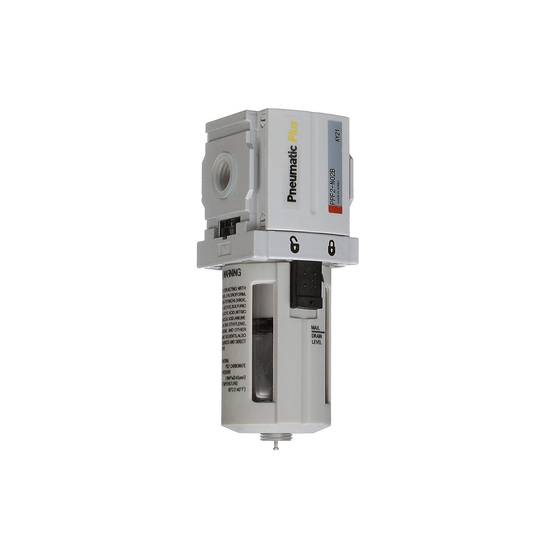 Manual Drain Poly Bowl PneumaticPlus PPF4-N04B Compressed Air Particulate Filter 1//2 NPT 5 Micron Bracket
