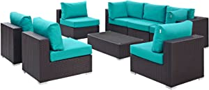 Modway Convene 8-pc Outdoor Patio Sectional Set in Espresso Turquoise