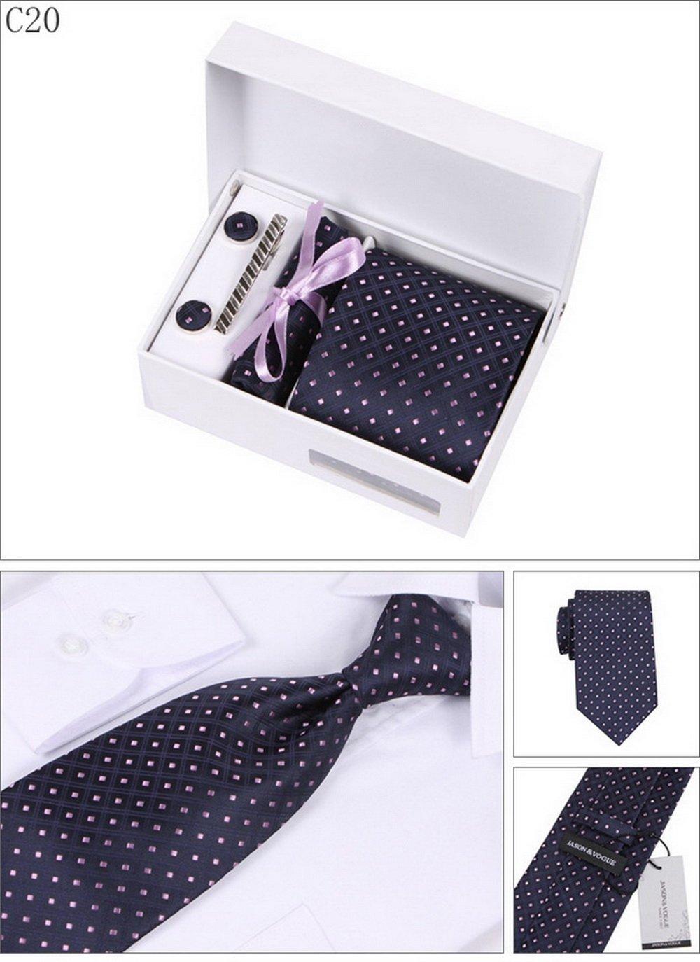 PAHALA Mens Fashion Necktie Cufflinks Tie Bar Pocket Square Set Box (C6) PAHALAC6