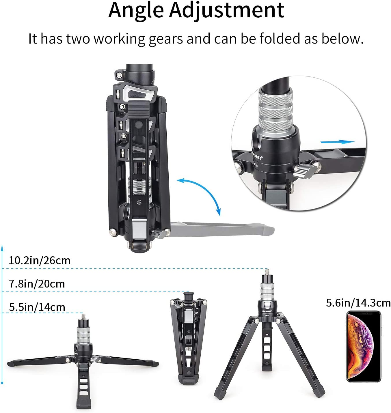 Max Load 33 lb for Camera Mobile Phone Action Cameras Mini Tabletop Tripod Stand-INNOREL PW70,DSLR Mini Tripod with 1//4 to 3//8 Screw and Cell Phone Mount CNC Aluminum Housing Video Camcorder