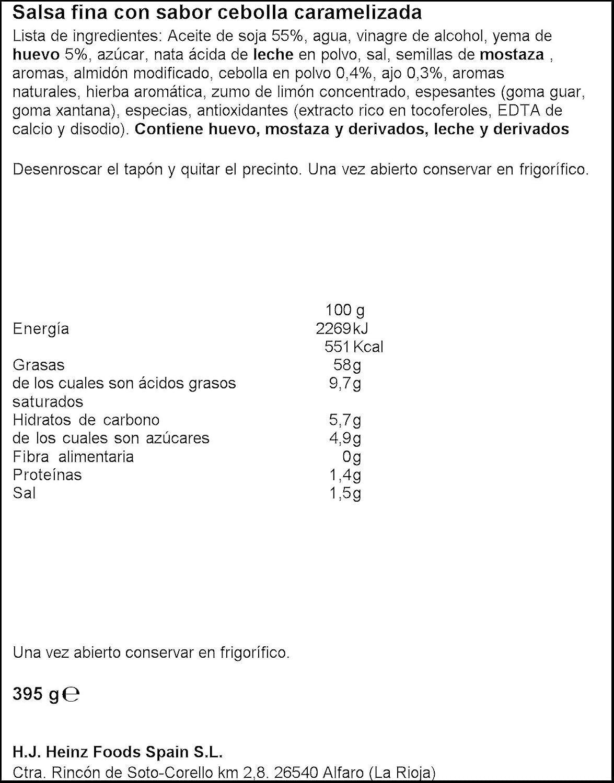 Heinz Mayonesa Cebolla Caramelizada - 395 ml: Amazon.es: Alimentación y bebidas