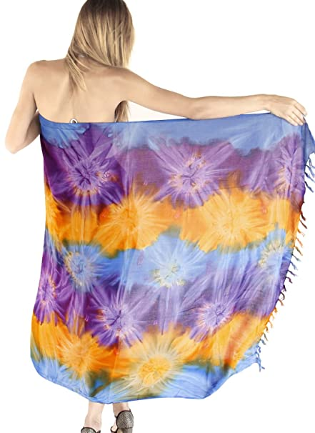 "ab476b1b5d LA LEELA Rayon Hawaiian Beach Dress Wrap Sarong Tie Dye 62""X43""  ..."