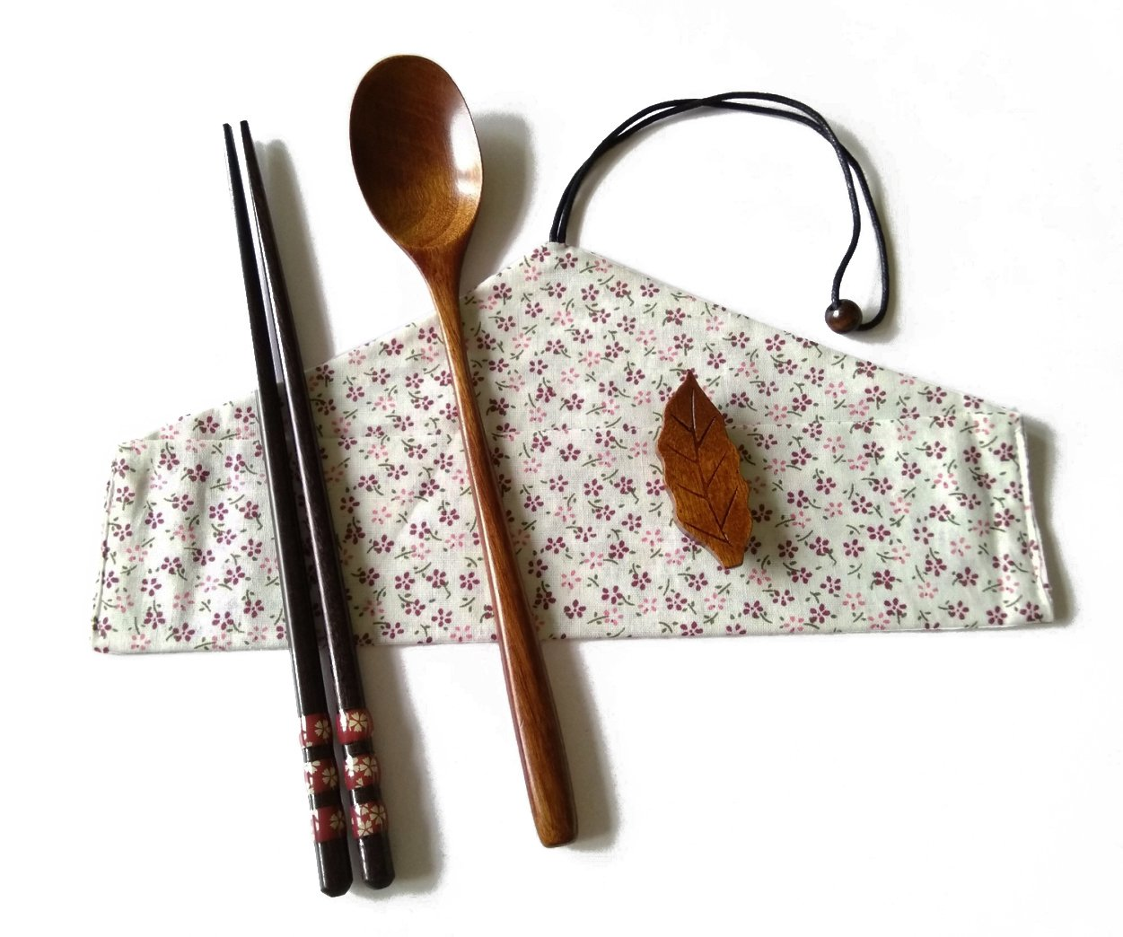 Linshing Natural Wooden Tableware Set for Lunch Or Travel Or Outdoor Reusable lskitchen