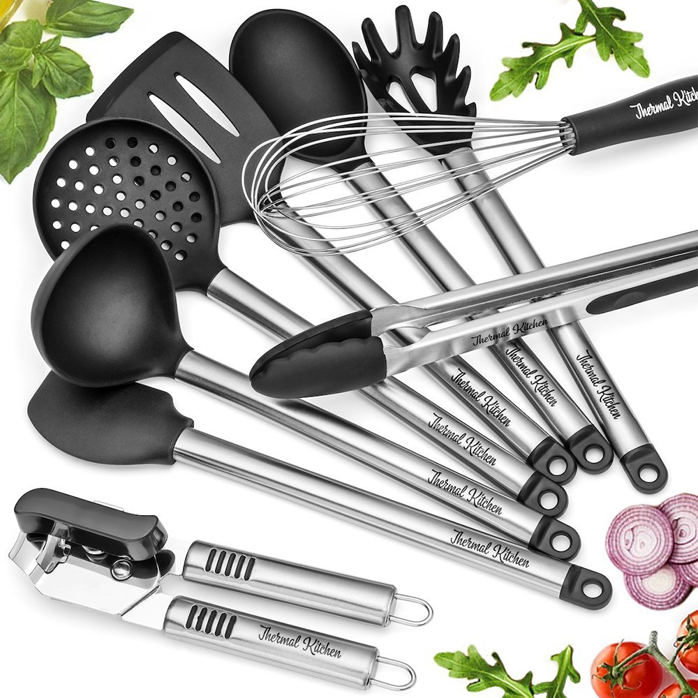 Kitchen Utensils - 9 Piece Cooking Utensil Set Silicone and Stainless Steel BONUS Can Opener - Professional BPA Free Heat Resistant Cookware Kit Suitable for Commercial Restaurant and Home Thermal Kitchen