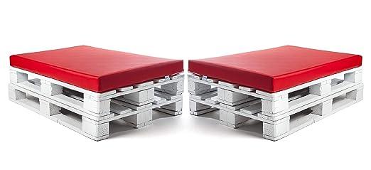 SUENOSZZZ-ESPECIALISTAS DEL DESCANSO Colchonetas para Sofas de Palet (2 x Unidades) Cojin Relleno con Espuma. Color Rojo | Cojines para Chill out, ...