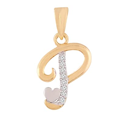 I Jewels Valentines Collection P Alphabet Pendant With Heart For Men Women C00P