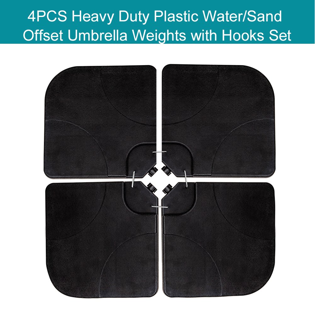 Sundale Outdoor 4 Pieces Heavy Duty Plastic Water Sand Cantilever Umbrella Base Stand (Black With Hooks)