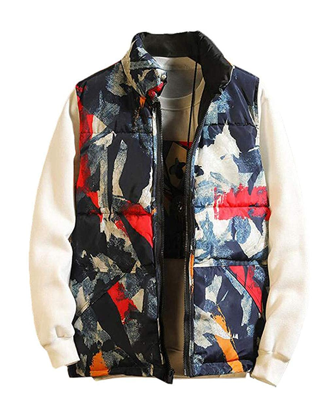 Lookasdasd Men Sleeveless Thicken Reversible Camo Print Quilted Down Vest Jacket