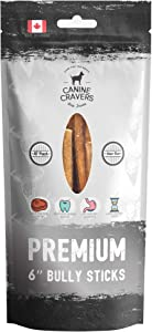 Canine Cravers Bully Sticks - 100% Natural, Free Range, Grass Fed Beef - Made in Canada - Odor-Free, Long Lasting - Rawhide Free Dog Chews, Perfect High Protein - Low Fat Dental Care