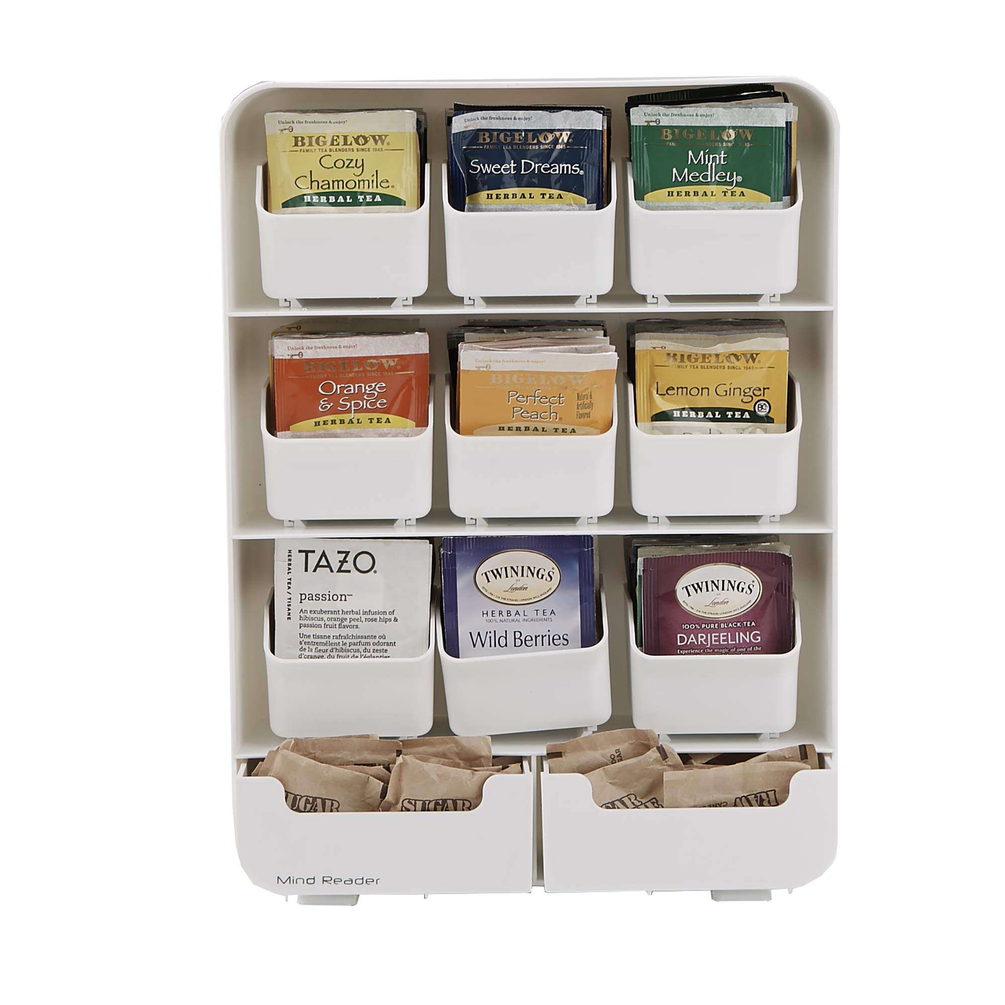 Mind Reader 9 Removable Drawers Tea Bag holder and Condiment Organizer, White by Mind Reader