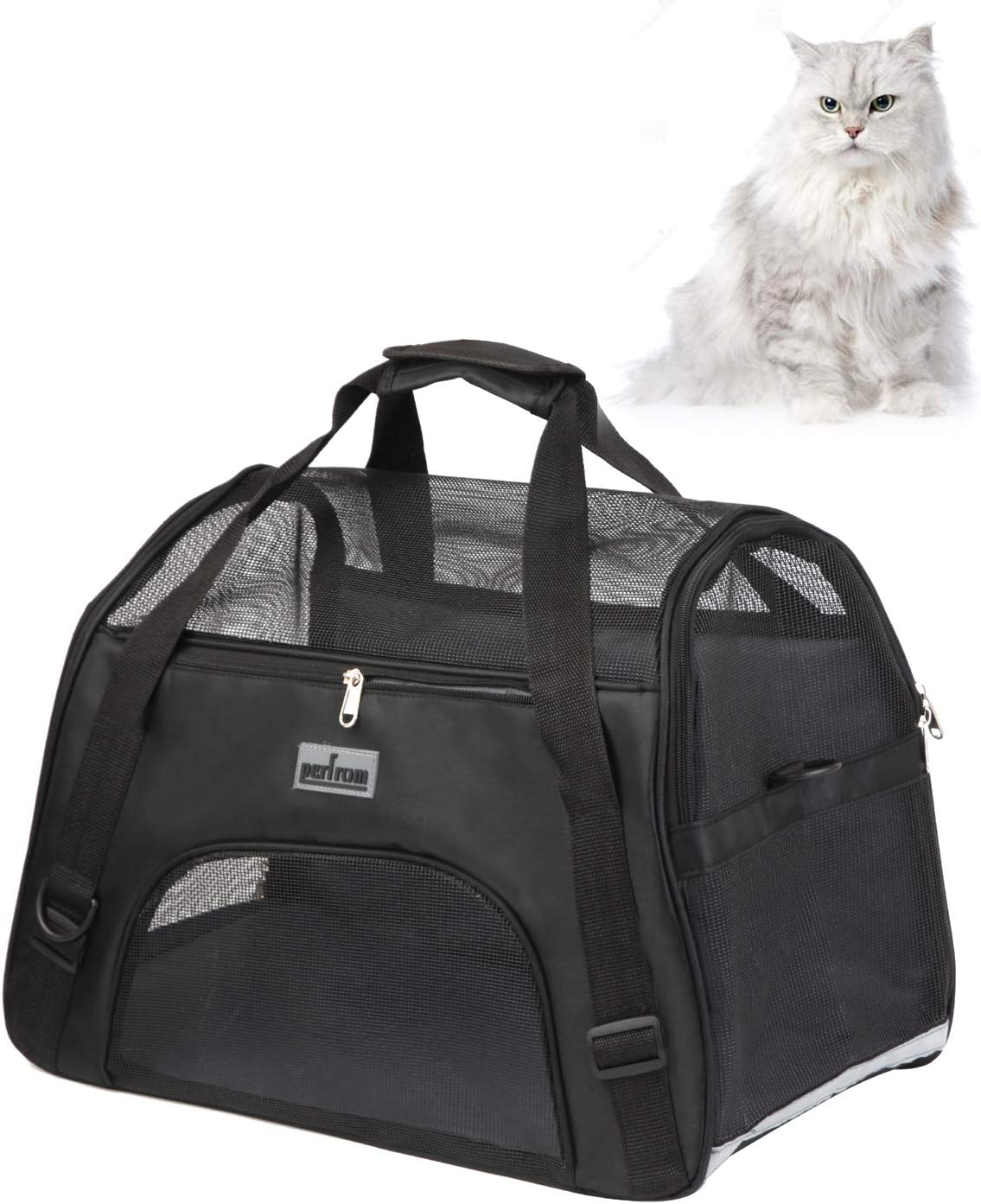 Breathable 4-Windows Design Black perfrom 20.5 x 9.7 x 13 Pet Carrier Soft Cat Carrier Airline Approved Soft Side Pet Carrier for Cats Small Dogs Travel Carrying Handbag