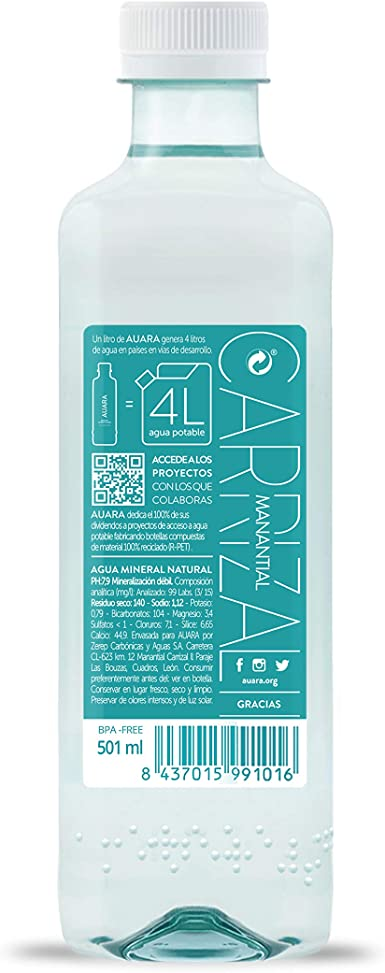 AUARA Agua Mineral Natural sin Gas - Paquete de 24 x 500 ml ...
