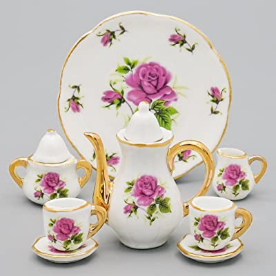 Odoria 1:6 Miniature 8PCS Porcelain Tea Cup Set Purple Chintz with Gold Trim Dollhouse Kitchen Accessories: Toys & Games