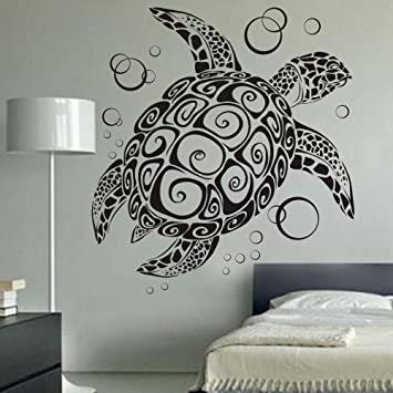 Digtour Wallart Sea Turtle Ocean Wall Decal Turtle Wall Sticker Under The Sea Animals Wall Decor Vinyl Tortoise Wall Decal Wall Graphic Wall Mural